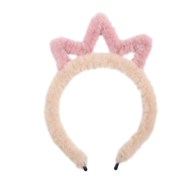 Fuzzy Ear Headbands - Peach/Pink Tiara - hair accessory