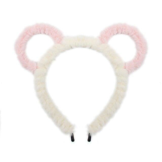 Fuzzy Ear Headbands - White/Pink Bear Ears - hair accessory