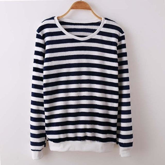 Fuzzy Flannel Crewnecks - Black White Stripes / S - Sweater
