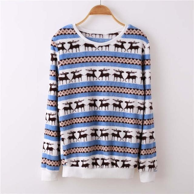 Fuzzy Flannel Crewnecks - Blue Striped Pattern / S - Sweater