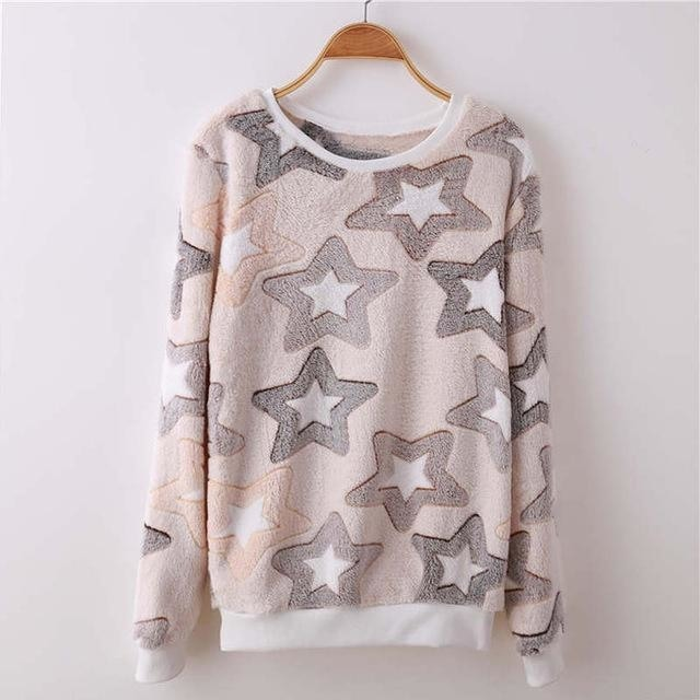 Fuzzy Flannel Crewnecks - Grey Stars / S - Sweater