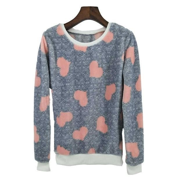 Fuzzy Flannel Crewnecks - Hearts / S - Sweater