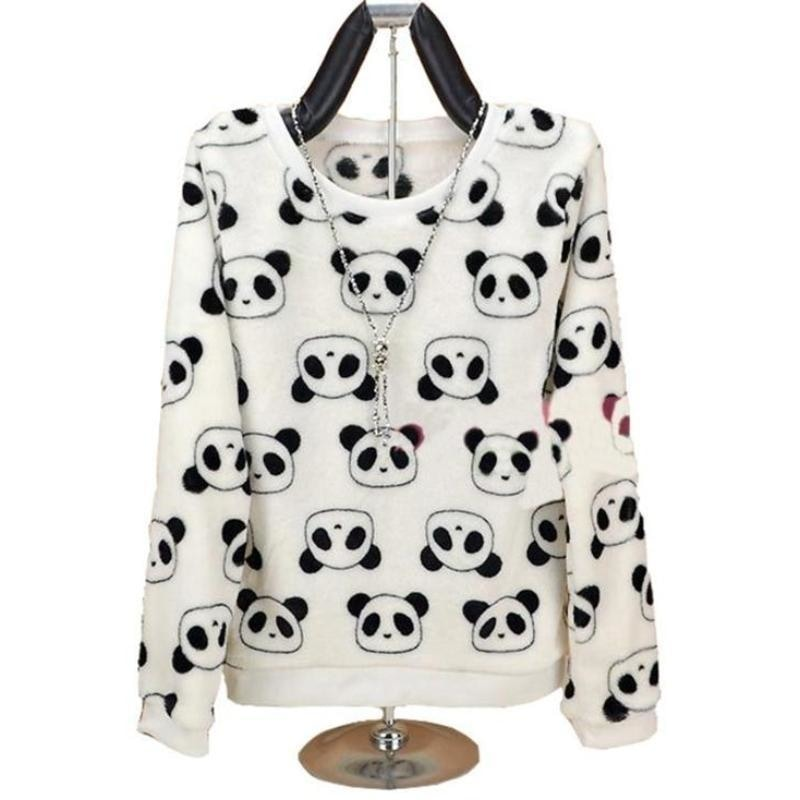 Fuzzy Flannel Crewnecks - Panda Bear / S - Sweater