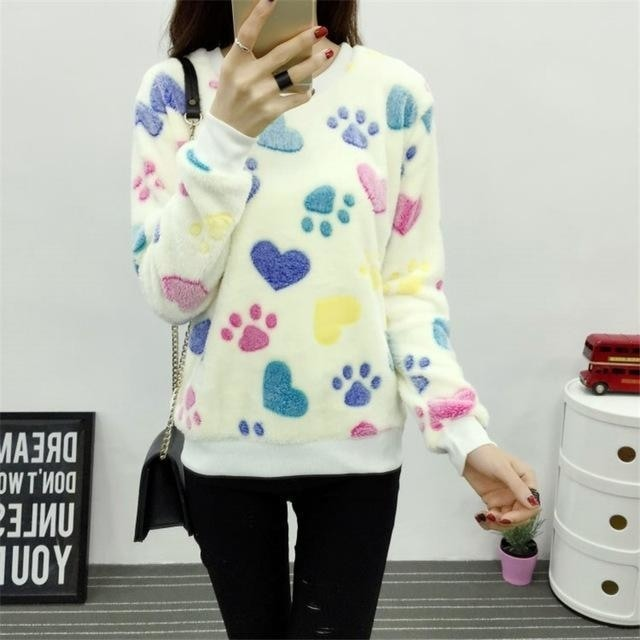 Fuzzy Flannel Crewnecks - Paw Print / S - Sweater