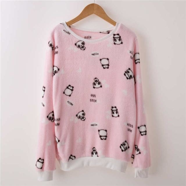 Fuzzy Flannel Crewnecks - Pink Panda / S - Sweater