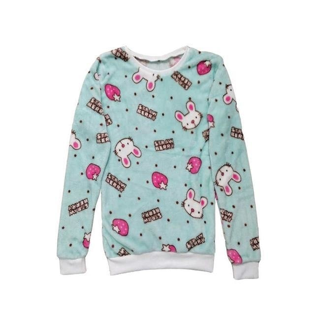 Fuzzy Flannel Crewnecks - Strawberry Bunny / S - Sweater
