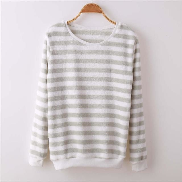 Fuzzy Flannel Crewnecks - White Grey Stripes / S - Sweater