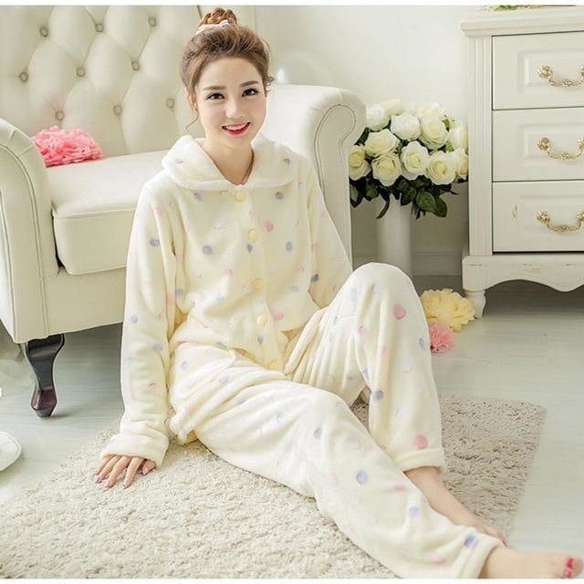 Fuzzy Flannel Pajama Sets - Yellow Polkadot / XXL - pajamas