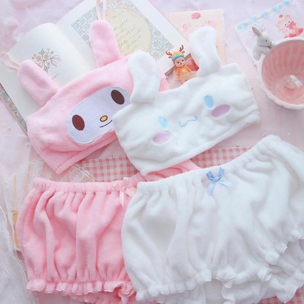 Fuzzy Melody Lingerie Set - bloomers, bralette, bunny, cinnamoroll, crop tops