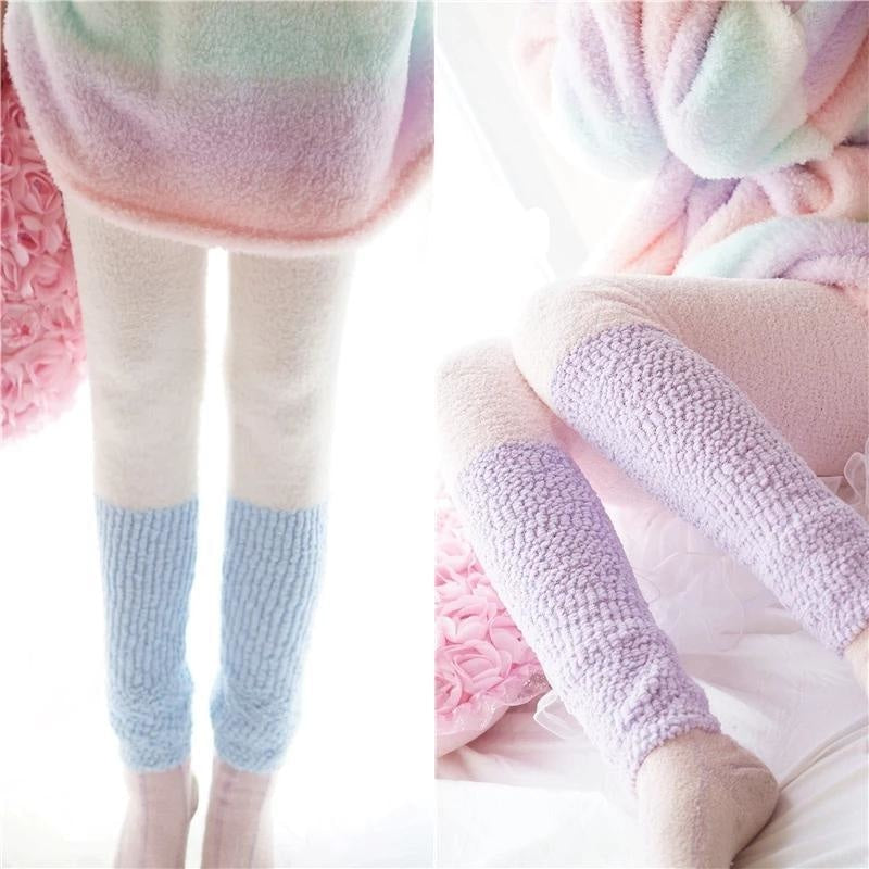Fuzzy Pastel Long John Leggings - Blue/White - leggings