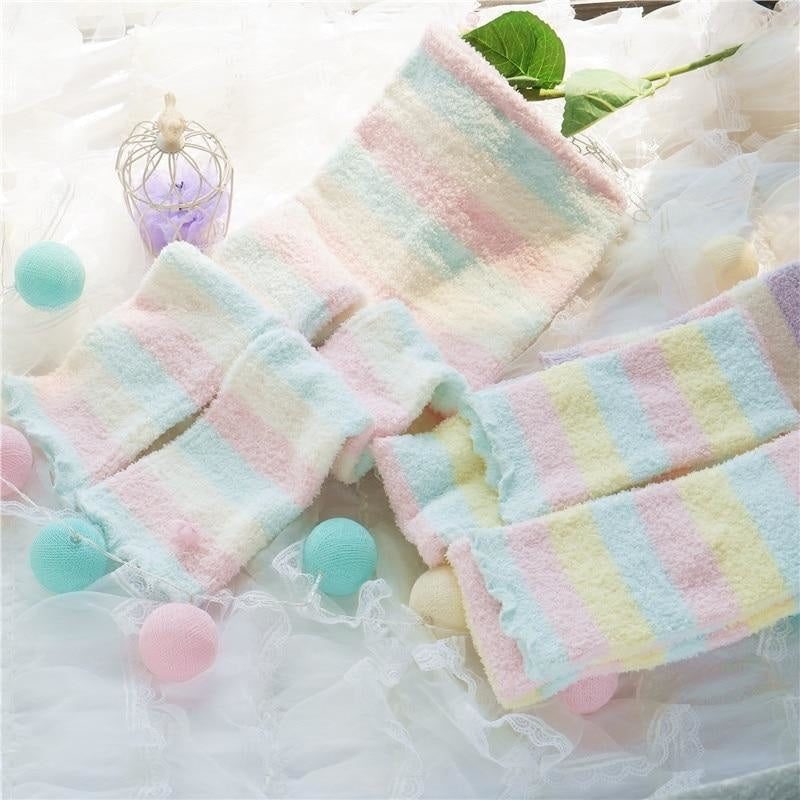 Fuzzy Pastel Long John Leggings - Easter Colors - leggings