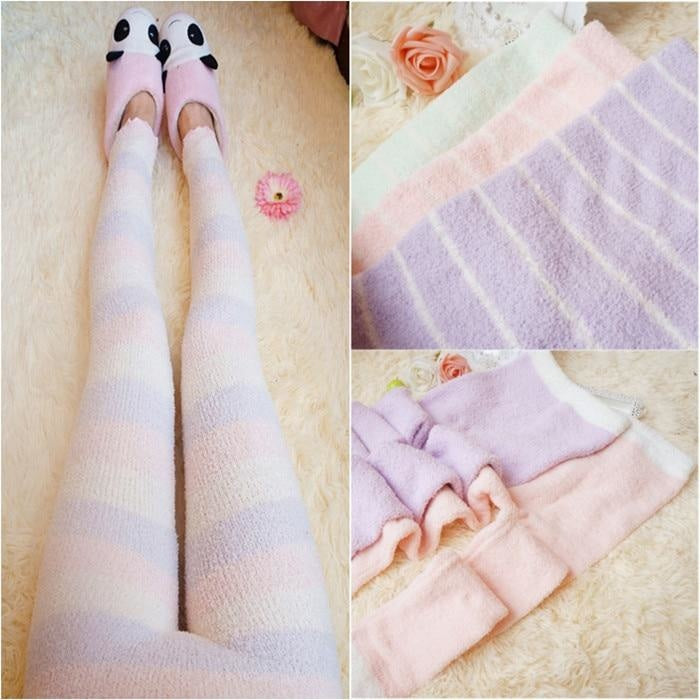 Fuzzy Pastel Long John Leggings - Purple & Pink Striped - leggings