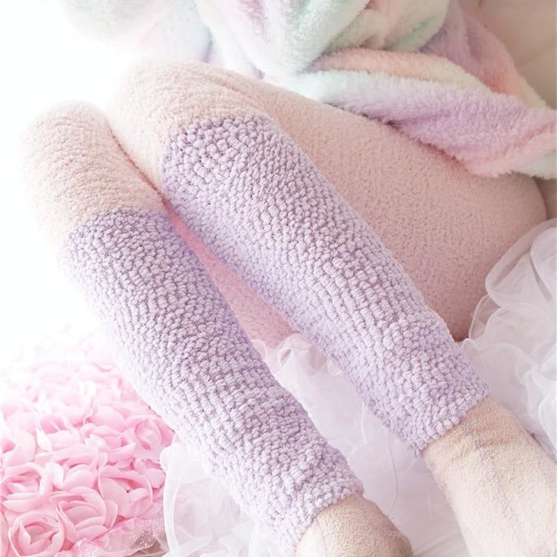 Fuzzy Pastel Long John Leggings - Purple/White - leggings