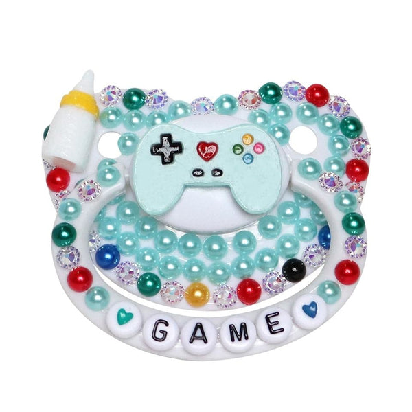 Gamer Baby Deco Pacifier - Blue - abdl, adult baby, paci, pacifier, binkies
