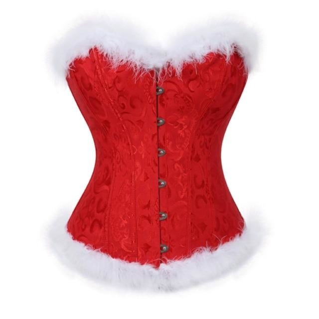 Genuine Holiday Corsets (5 Styles!) - Red Fur / 6XL - bustier, christmas, corset, corsetry, corsets