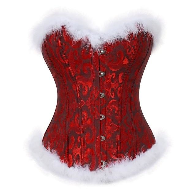 Genuine Holiday Corsets (5 Styles!) - Red Patterned / S - bustier, christmas, corset, corsetry, corsets