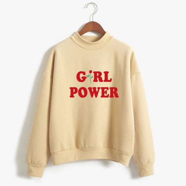 Yellow Girl Power Crewneck Sweater Sweatshirt Red Rose Pullover Long Sleeve Feminism Feminist