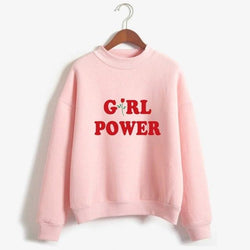 Pink Girl Power Crewneck Sweater Sweatshirt Red Rose Pullover Long Sleeve Feminism Feminist
