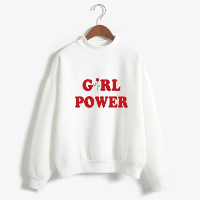 White Girl Power Crewneck Sweater Sweatshirt Red Rose Pullover Long Sleeve Feminism Feminist