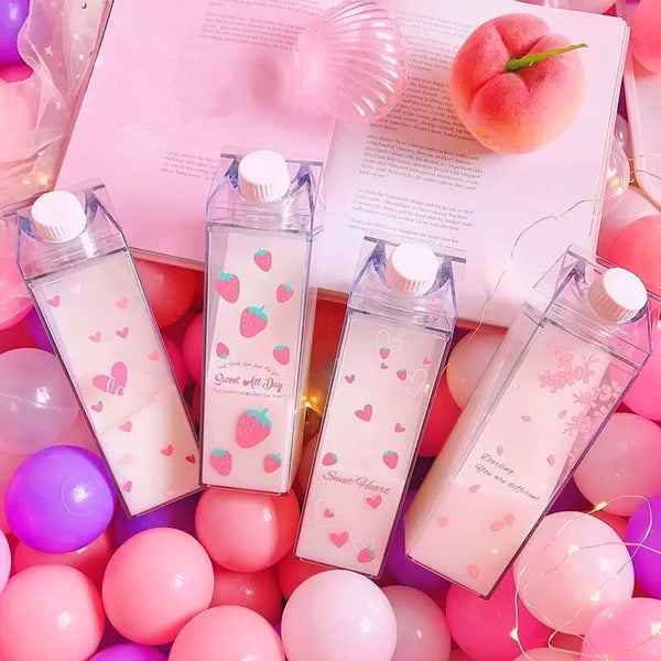 Glass Clear Milk Carton Water Bottle Drinking Cups Kawaii Cute Pink Strawberry Flamingo Unicorn
