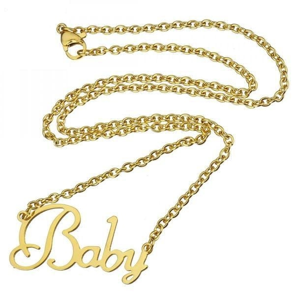 Gold Baby necklace pendant golden chain abdl cgl little space kink fetish dd/lg baby girl jewelry accessories by ddlg playground