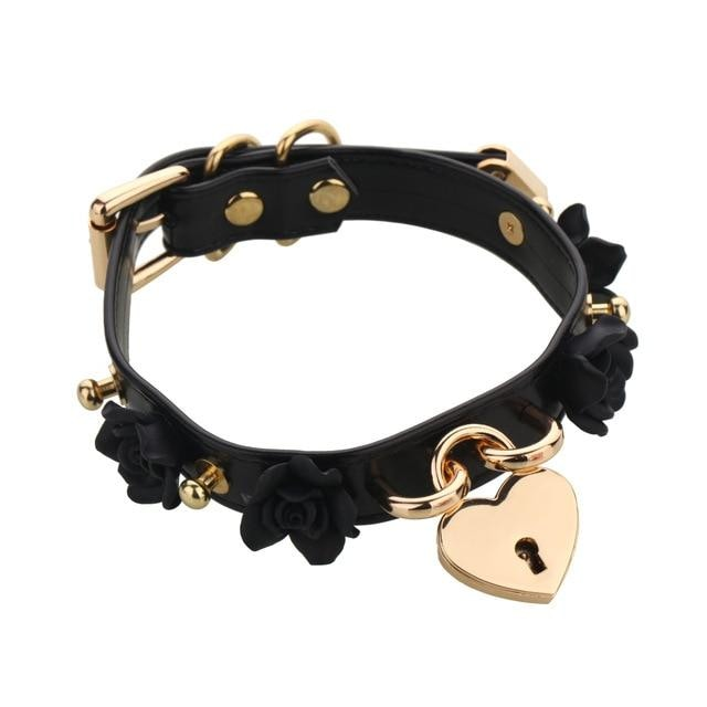 Black Kawaii Flower Floral Heart Gold Locket Choker Collar Lock n Key Petplay Kink