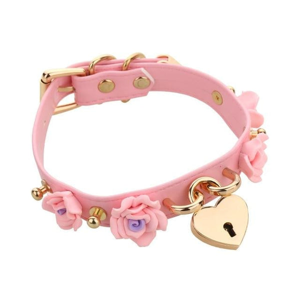 Pink Kawaii Flower Floral Heart Gold Locket Choker Collar Lock n Key Petplay Kink