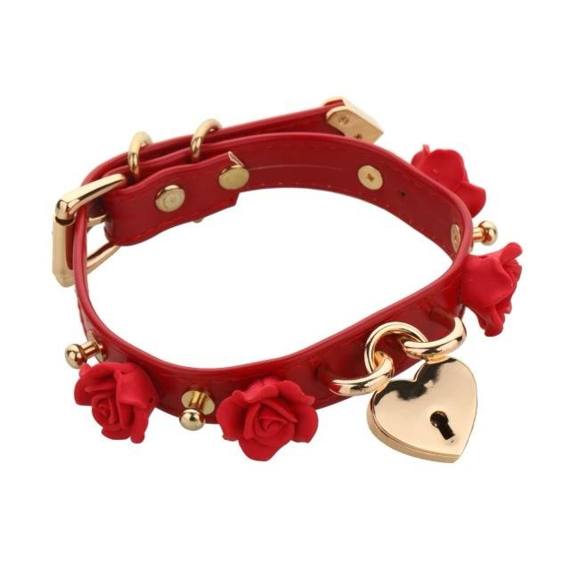 Red Kawaii Flower Floral Heart Gold Locket Choker Collar Lock n Key Petplay Kink