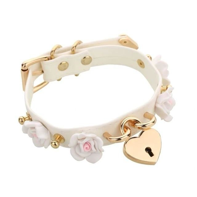 White Kawaii Flower Floral Heart Gold Locket Choker Collar Lock n Key Petplay Kink