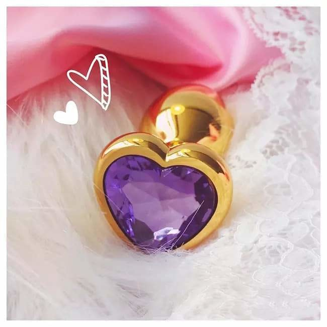 Gold Heart Butt Plug Jewel Gem Rhinestone Anal Bead Insert Princess Kink Fetish by DDLG Playground