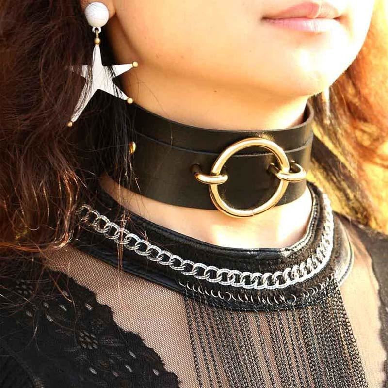 Vegan Leather O Ring Gold Collar Choker Necklace Petplay BDSM Kink Fetish Gear