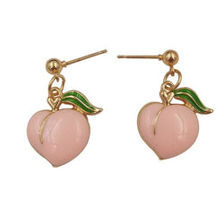 Gold Pink Peach Dangle Drop Earrings Jewelry