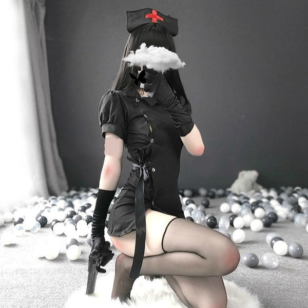 Gothic Nurse Cosplay - Black - army, army nurse, bad ass badass cheongsam