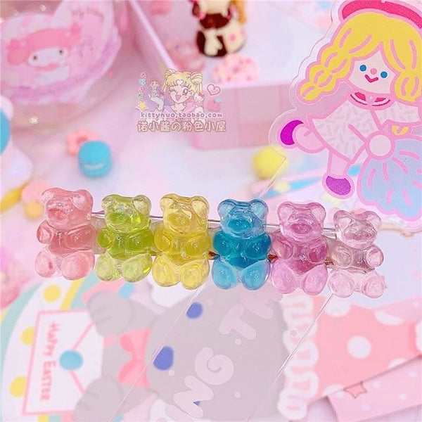 Gummy Bear Hair Clippies - Light Rainbow - accessories