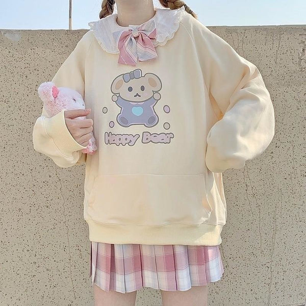 Happy Baby Bear Hoodie - crewneck, crewnecks, fairy kei, hooded, hoodies
