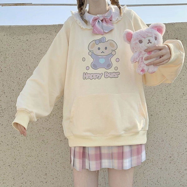 Happy Baby Bear Hoodie - M - crewneck, crewnecks, fairy kei, hooded, hoodies