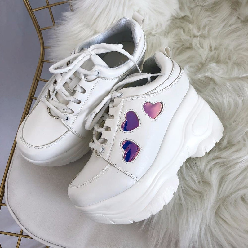 Harajuku Holographic Platform Sneakers Shoes Lace Up Footwear Kawaii Kink Fetish Princess Japan