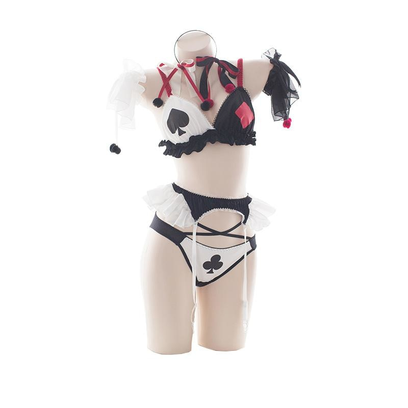 Harley Quinn Joker Lingerie Cosplay Costume Set Poker Cards