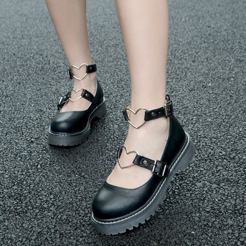 Heart Buckle Wedge Shoes - Shoes