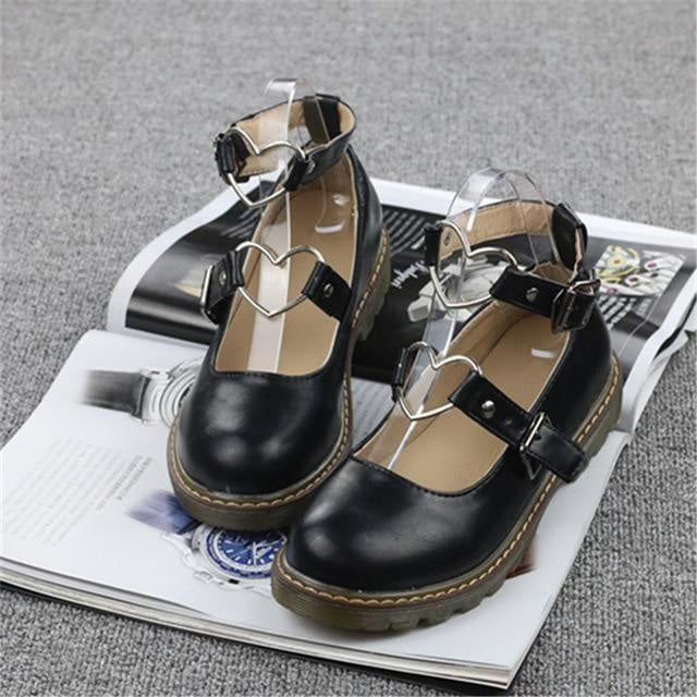 Heart Buckle Wedge Shoes - Black / 4 - Shoes