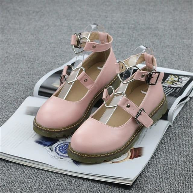 Heart Buckle Wedge Shoes - Pink / 4 - Shoes