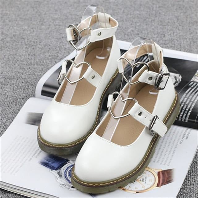 Heart Buckle Wedge Shoes - White / 4 - Shoes