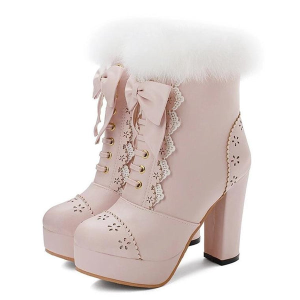 Holiday Lolita Booties - Pink / 5 - boots