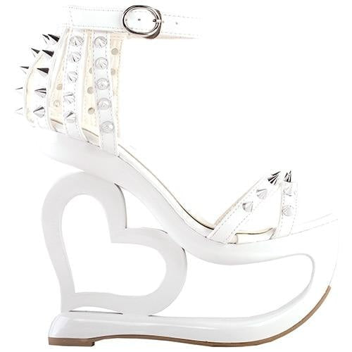 Hollow Heart Platforms - Wihte / 4 - Shoes