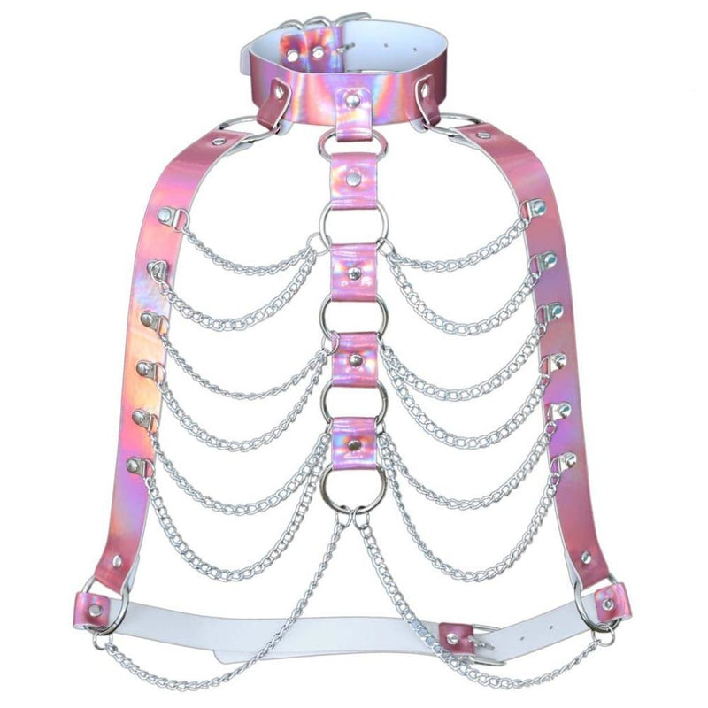 Pink Holographic Chain Body Chest Harness Gothic Shiny