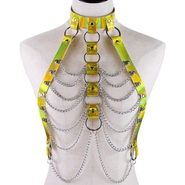 Gold Holographic Chain Body Chest Harness Gothic Shiny