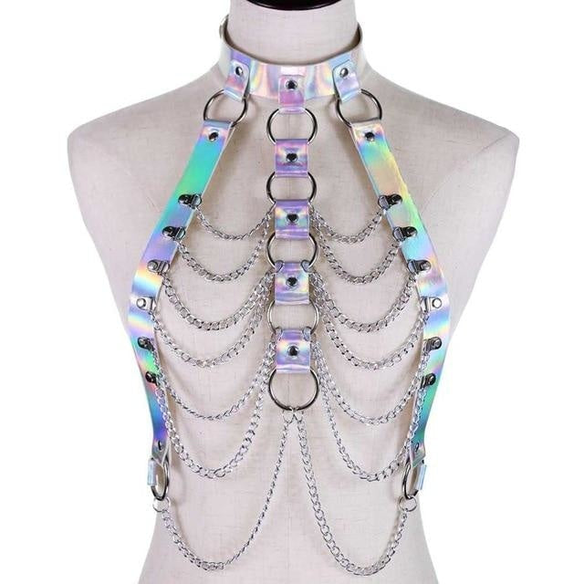 Silver Holographic Chain Body Chest Harness Gothic Shiny