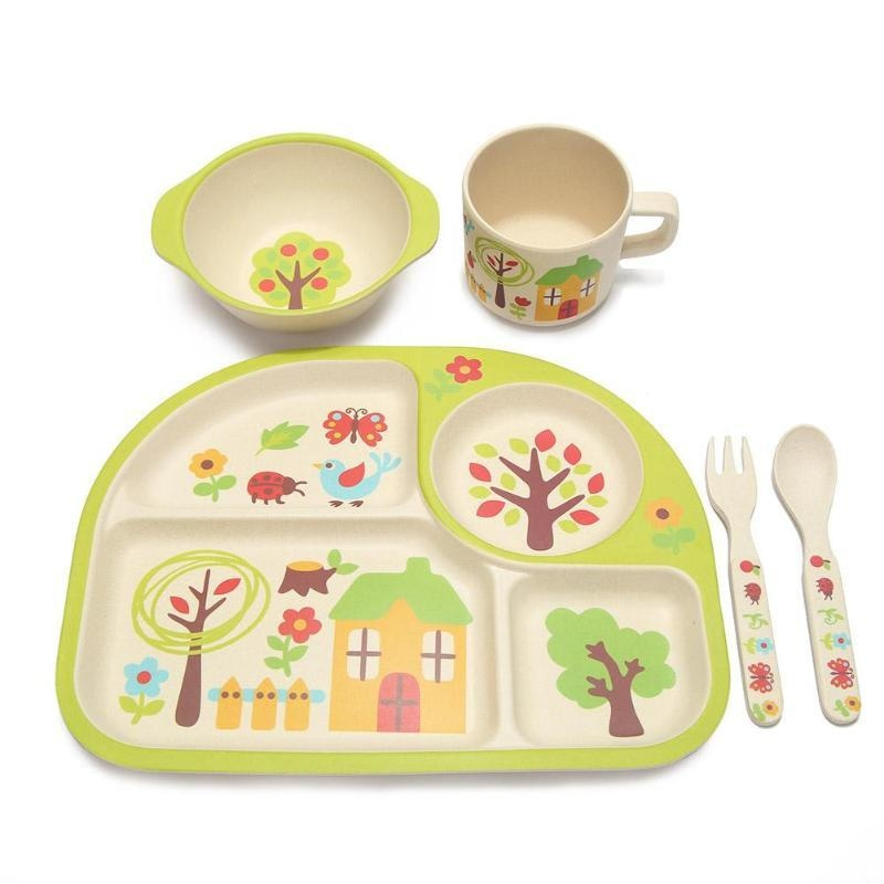 Home Sweet Dinner Set - bamboo, bowl, bowls, cartoon, cutlery