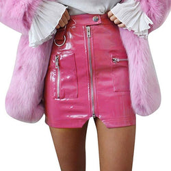 Hot Vinyl Miniskirt - Pink / L - skirt