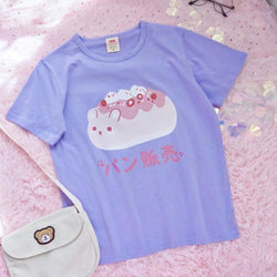 Icecream Sundae Cat Tee - chunky, fairy-kei, fairykei, fat cat, icecream